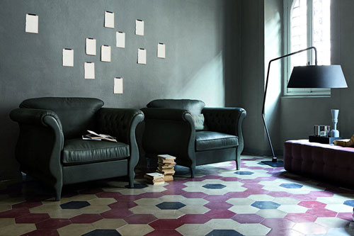 Cementine esagonali cermenate tripodi pavimenti e - Posa mattonelle bagno ...